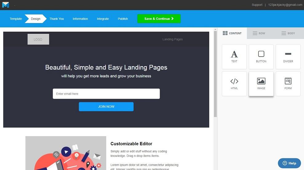 mailmunch landing page builder
