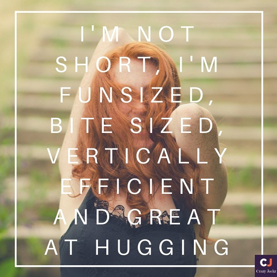 i'm not short, i'm funsized, bite sized, vertically efficient and great at hugging